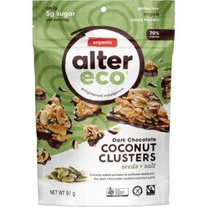 Seeds + Salt Dark Chocolate Coconut Clusters - ALTER ECO - 91g