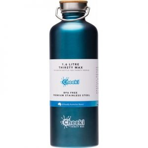 Teal 'Thirsty Max' Bottle - Stainless Steel Bottle - CHEEKI - 1.6L
