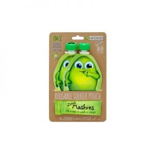 Reusable Squeeze Pouch Green - LITTLE MASHIES - Pack Of 2 - 130ml