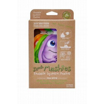 Reusable Mixed Colours Squeeze Pouch - LITTLE MASHIES - 10x130ml