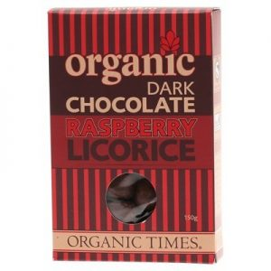 Dark Chocolate Raspberry Licorice - ORGANIC TIMES - 150g