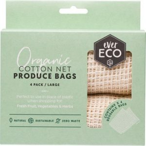 Natural Reusable Produce Bags - Organic Cotton Net - EVER ECO