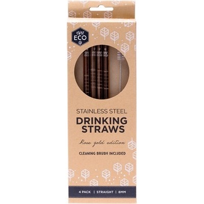 Reusable Straight Steel Straws - Rose Gold - EVER ECO