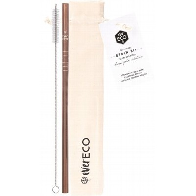 Stainless Steel Straw Kit - EVER ECO Straight on the go - Rose Gold