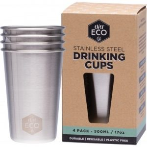 Stainless Steel Drinking Cups - 4x500ml - EVER ECO