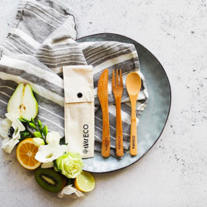 Best Bamboo Cutlery Set - With Organic Cotton Pouch - EVER ECO