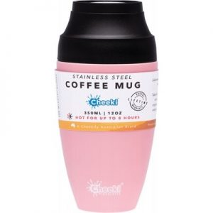 Leak-Proof reusable coffee mug - CHEEKI Coffee Mug Pink 350ml