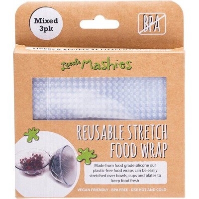 LITTLE MASHIES Reusable Stretch Silicone Food Wrap - Pack Of 3 - S, M & L