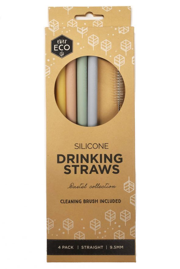 Reusable Silicone Drinking Straws - EVER ECO - Straight x 4