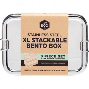 Stainless Steel XL Stackable Bento 2 Tier + Mini Snack Container EVER ECO