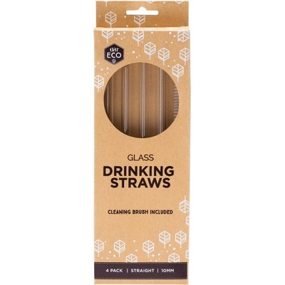 Best Durable Glass Straws 4 x Straight + Cleaning Brush - EVER ECO