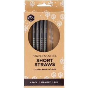 Stainless Steel Short Drinking Straws x 4 + Cleaning Brush - EVER ECO