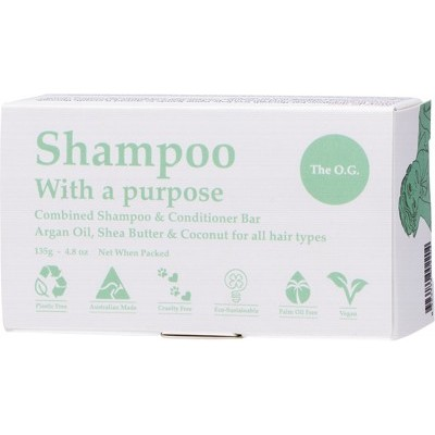 Shampoo & Conditioner Bar - SHAMPOO WITH A PURPOSE- The O.G. - For All Hair Types 135g